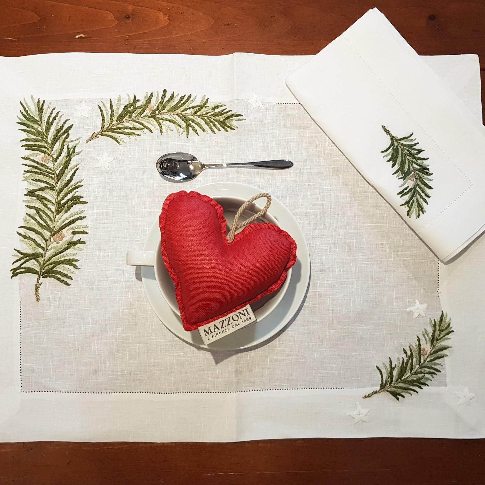 Pure Linen Hand Embroidered Place Mats And Napkins Ramo Mazzoni Casa